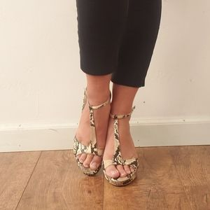 White House Black Market Snakeprint Peep Toe 9